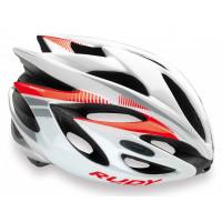 Casque Vélo de Route et VTT Rudy Project Rush blanc rouge fluo